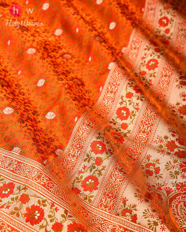 Orange Banarasi Tehri Jamawar Brocade Handwoven Katan Silk Saree - HolyWeaves