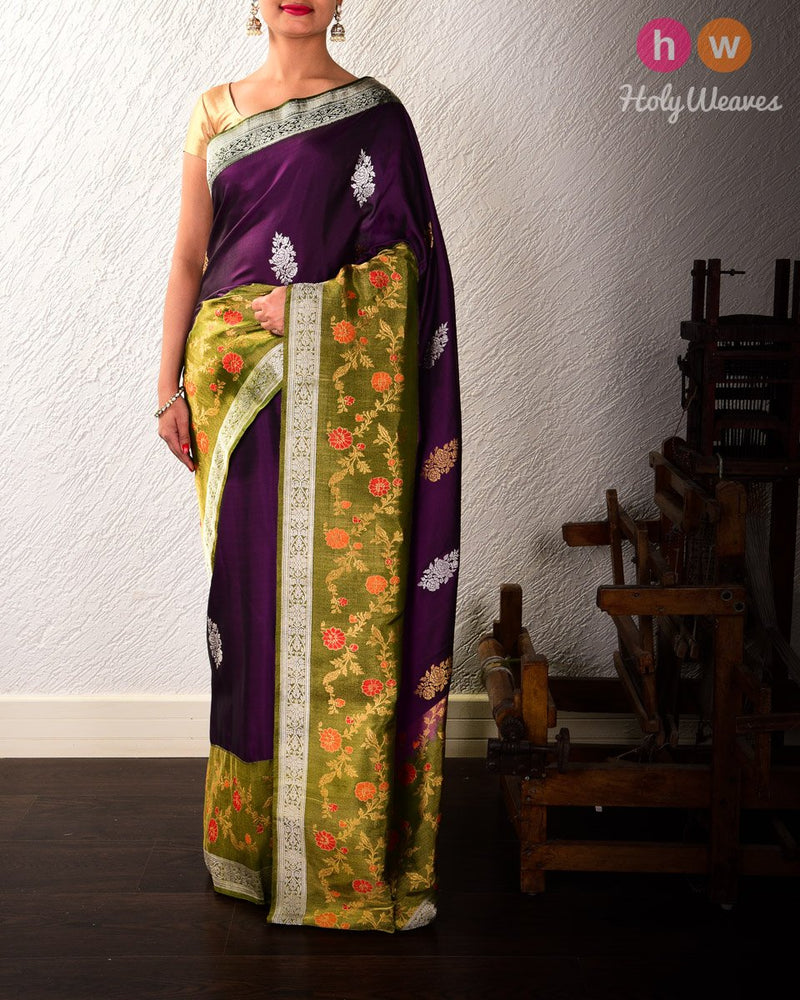 Purple Banarasi Kadhuan Brocade Handwoven Katan Silk Saree with Tissue Border & Blouse - HolyWeaves