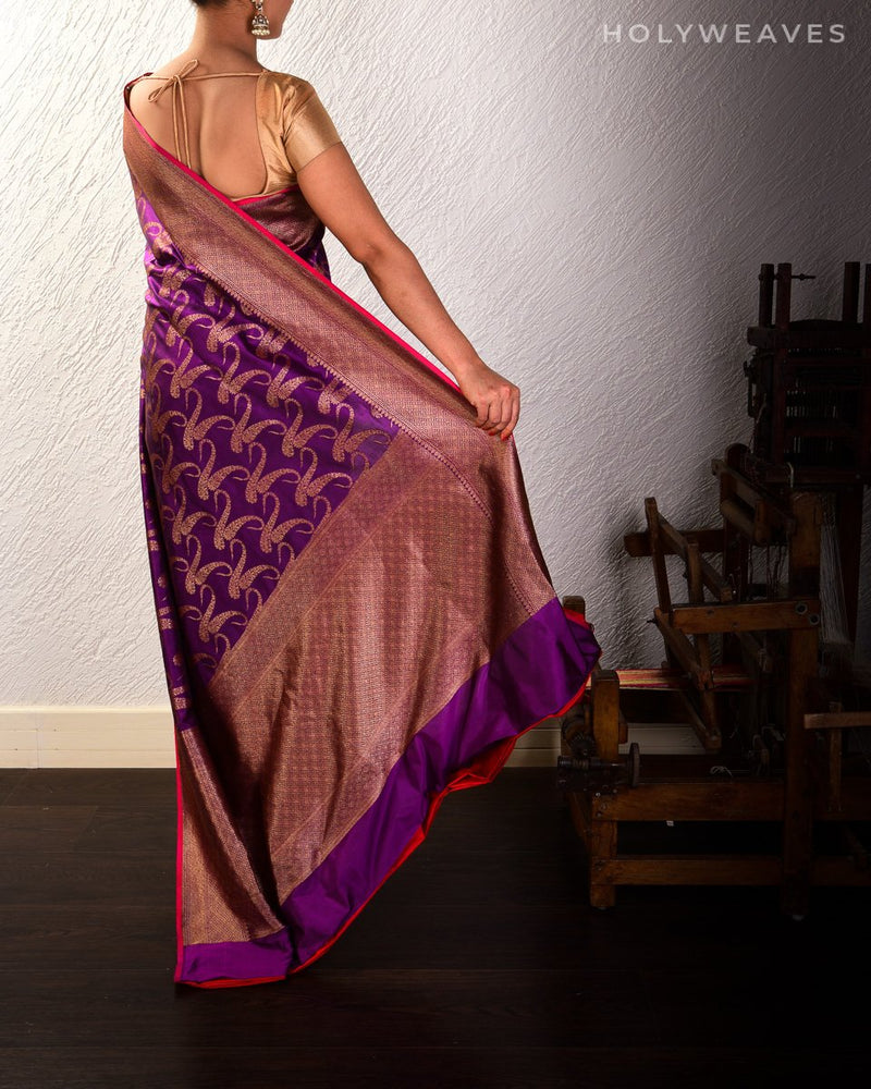 Purple Banarasi Antique Zari Paisley Jaal Cutwork Brocade Handwoven Katan Silk Saree