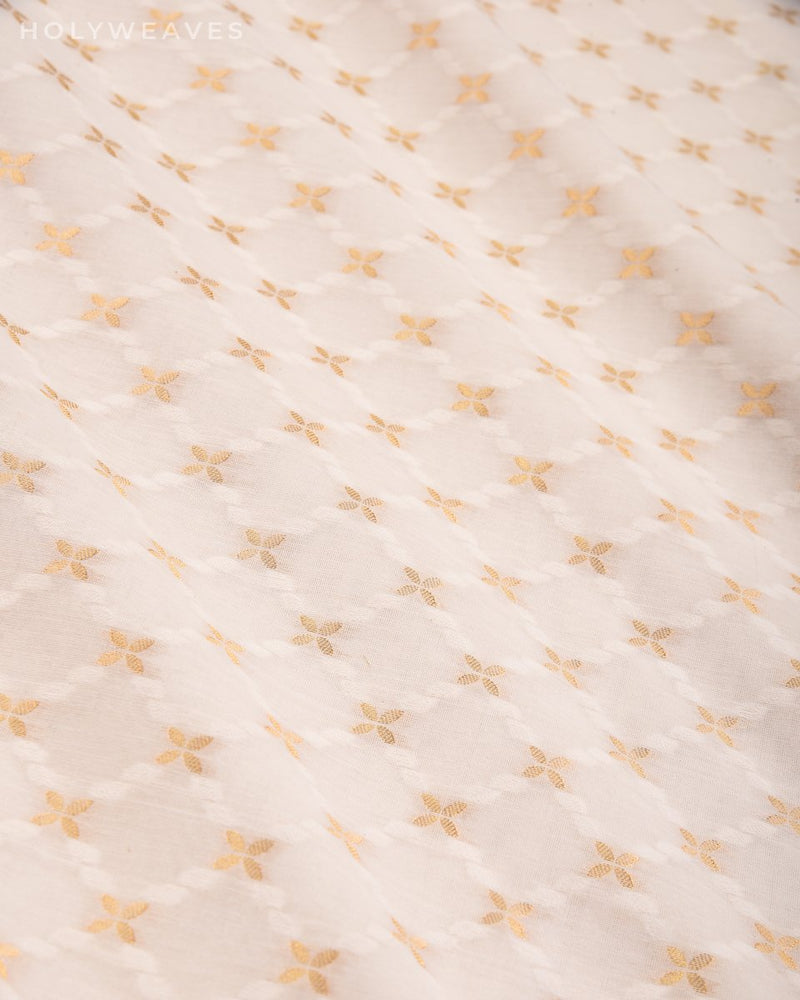 Cream Banarasi Jangla Alfi Cutwork Brocade Handwoven Cotton Silk Fabric