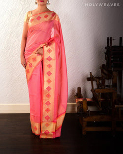 Pink Banarasi Chequered Weave Cutwork Brocade Woven Cotton Silk Saree with Meenakari Border