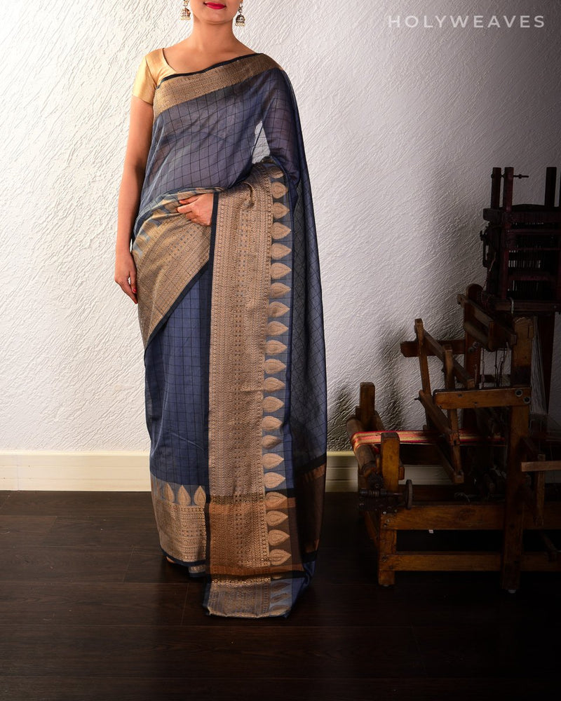 Gray Banarasi Checks Cutwork Brocade Woven Cotton Silk Saree with Brocade Border - HolyWeaves