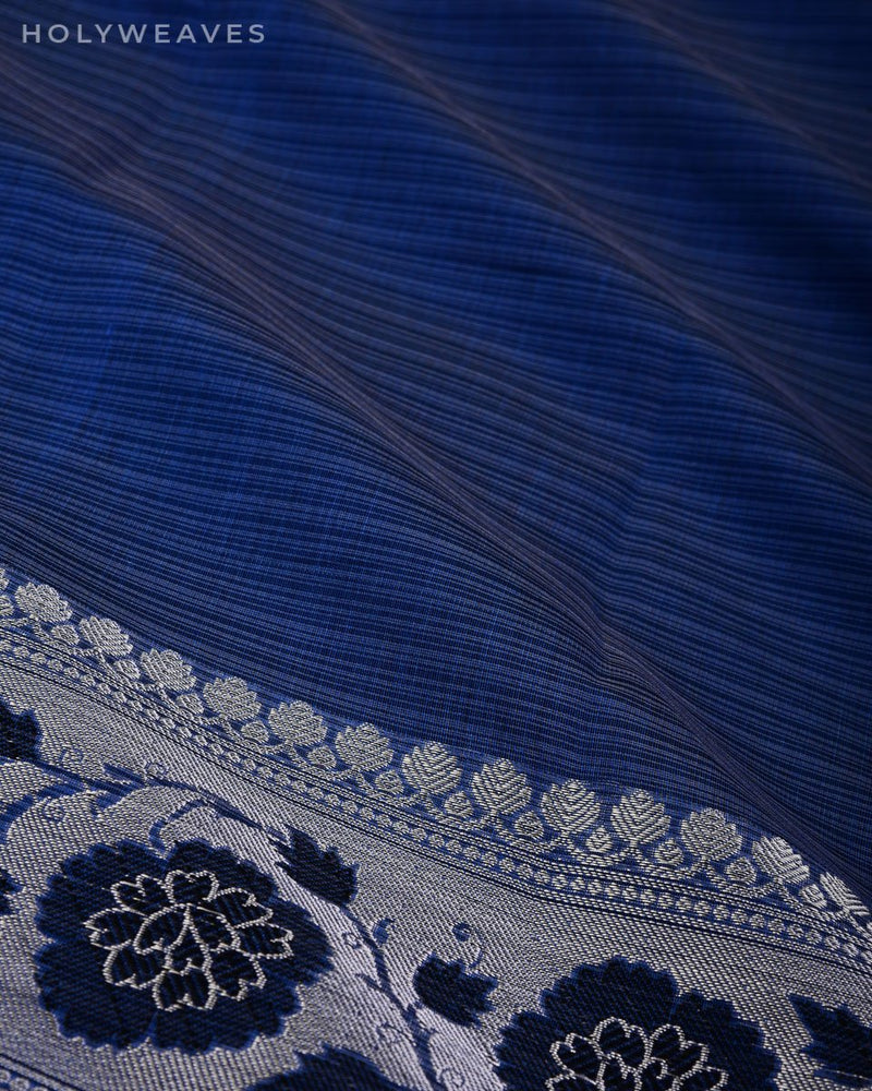Blue Banarasi Pin Stripes Cutwork Brocade Woven Cotton Silk Saree with Black & Silver Weave - HolyWeaves