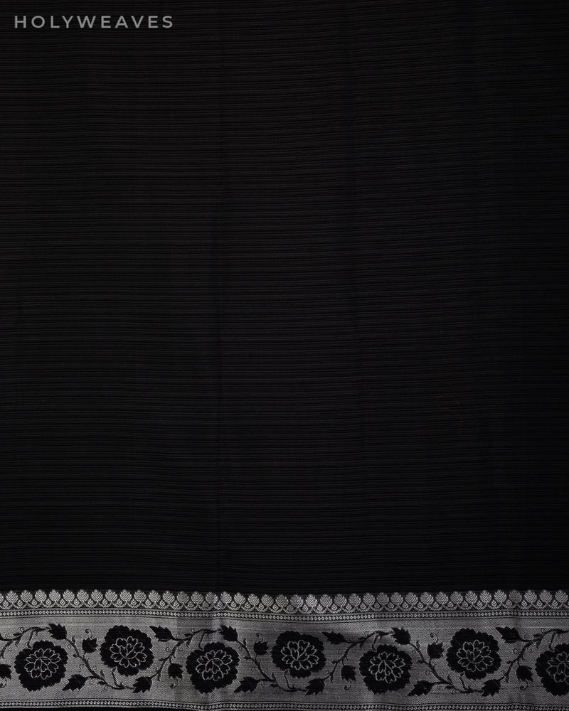 Black Banarasi Pin Stripes Cutwork Brocade Woven Cotton Silk Saree with Black & Silver Weave
