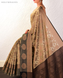 Beige Banarasi Resham Jaal Cutwork Brocade Woven Cotton Silk Saree