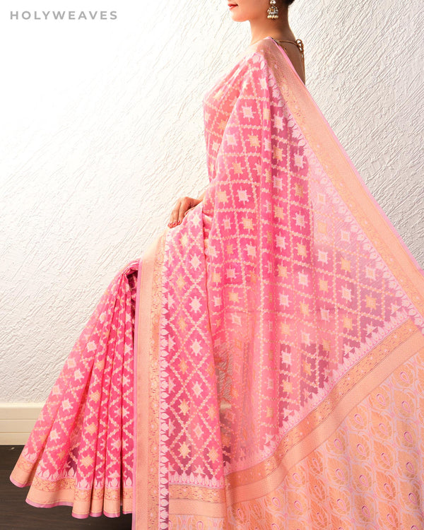 Pink Banarasi Jangla Buti Alfi Cutwork Brocade Woven Cotton Silk Saree