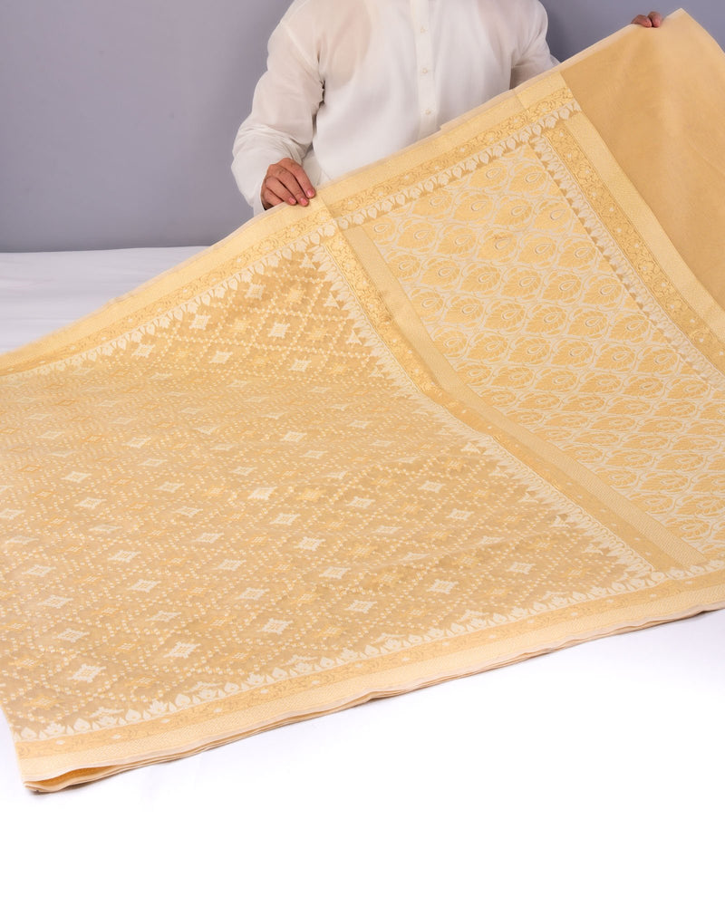 Beige Banarasi Jangla Buti Alfi Cutwork Brocade Woven Cotton Silk Saree - HolyWeaves