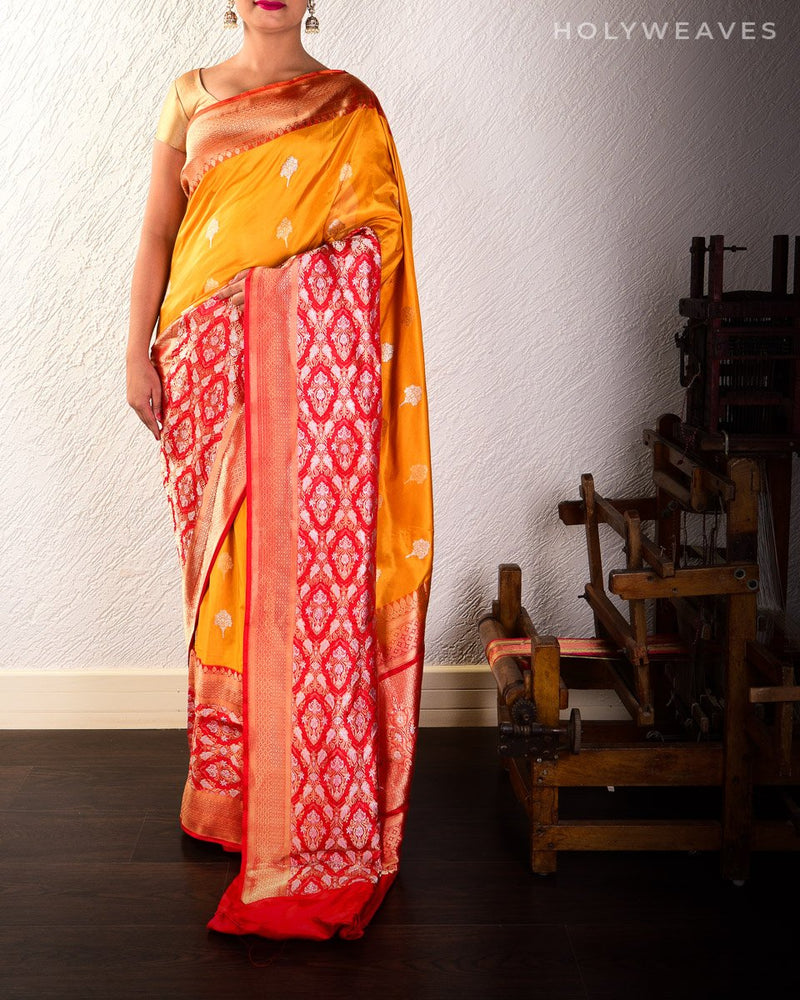 Mustard Yellow Banarasi Alfi Sona-Rupa Kadhuan Brocade Handwoven Katan Silk Saree with Kadiyal Red Border Pallu - HolyWeaves