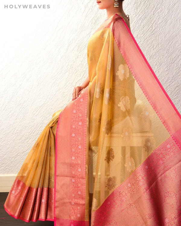 Mustard Yellow Banarasi Sona-Rupa Cutwork Brocade Woven Kota Tissue Saree with Contrast Brocade Blouse Piece