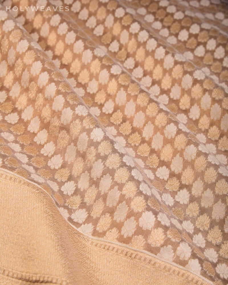 Gold Banarasi Chevron Buti Alfi Cutwork Brocade Handwoven Kora Tissue Saree - HolyWeaves
