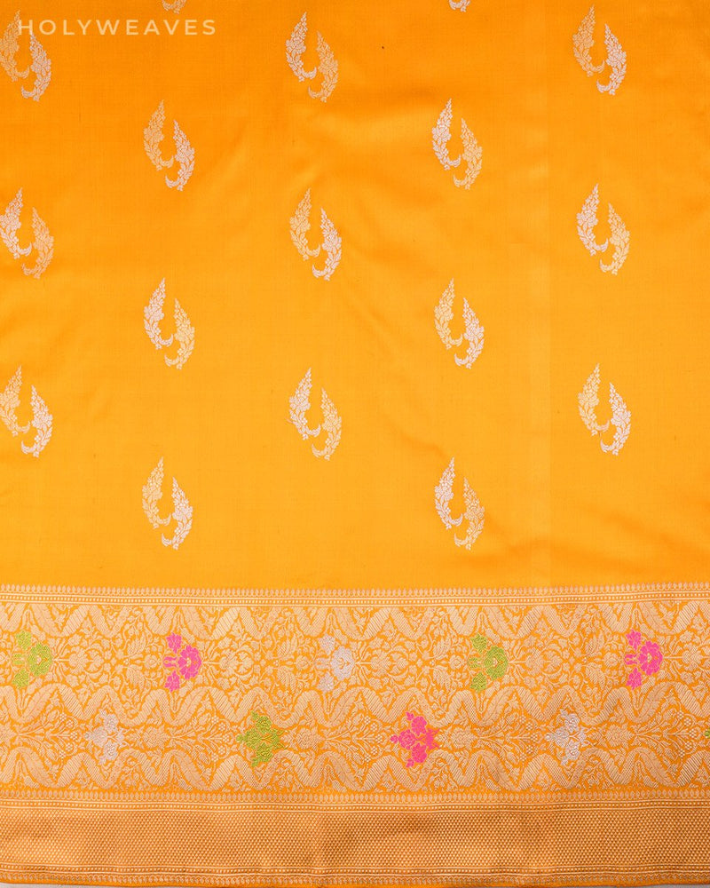 Golden Yellow Banarasi Alfi Sona-Rupa Dolphin Buta Kadhuan Brocade Handwoven Katan Silk Saree with Meenedar Border - HolyWeaves