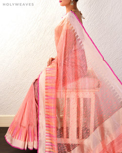 Peach Banarasi Cutwork Brocade Handwoven Net Tissue Saree