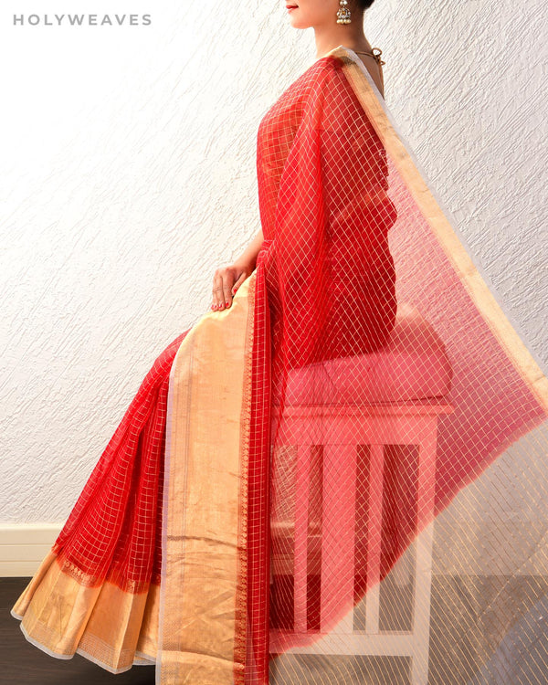 Red Banarasi Brocade Handwoven Kora Silk Saree with White Border Pallu