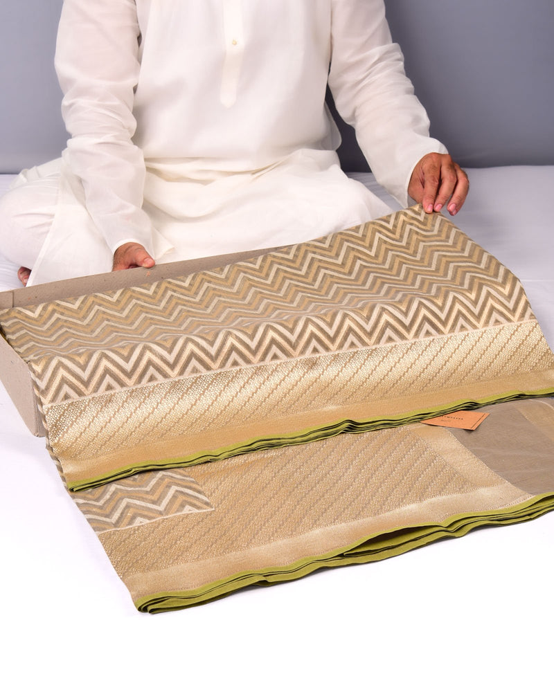 Olive Green Banarasi Chevron Zig-Zag Alfi Cutwork Brocade Handwoven Cotton Silk Saree - HolyWeaves