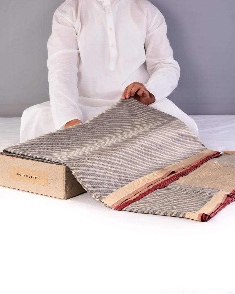 Gray Banarasi Diagonal Zari Stripes Brocade Handwoven Katan Silk Saree-HolyWeaves