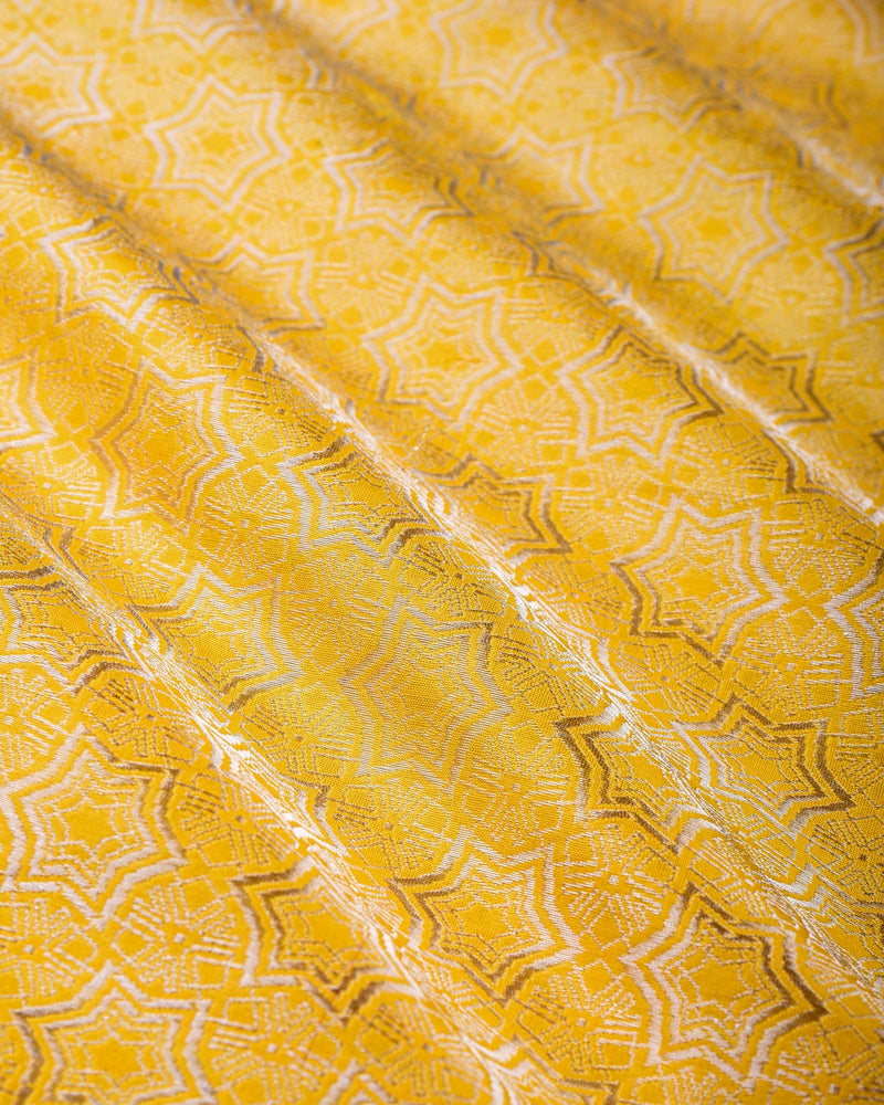 Golden Yellow Banarasi Star Silver Color Zari Cutwork Brocade Handwoven Katan Silk Fabric - HolyWeaves