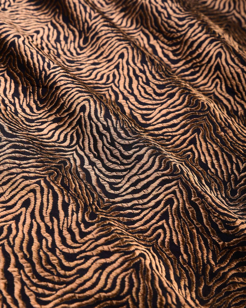 Black Banarasi RB Tiger Antique Zari Cutwork Brocade Handwoven Katan Silk Fabric - HolyWeaves