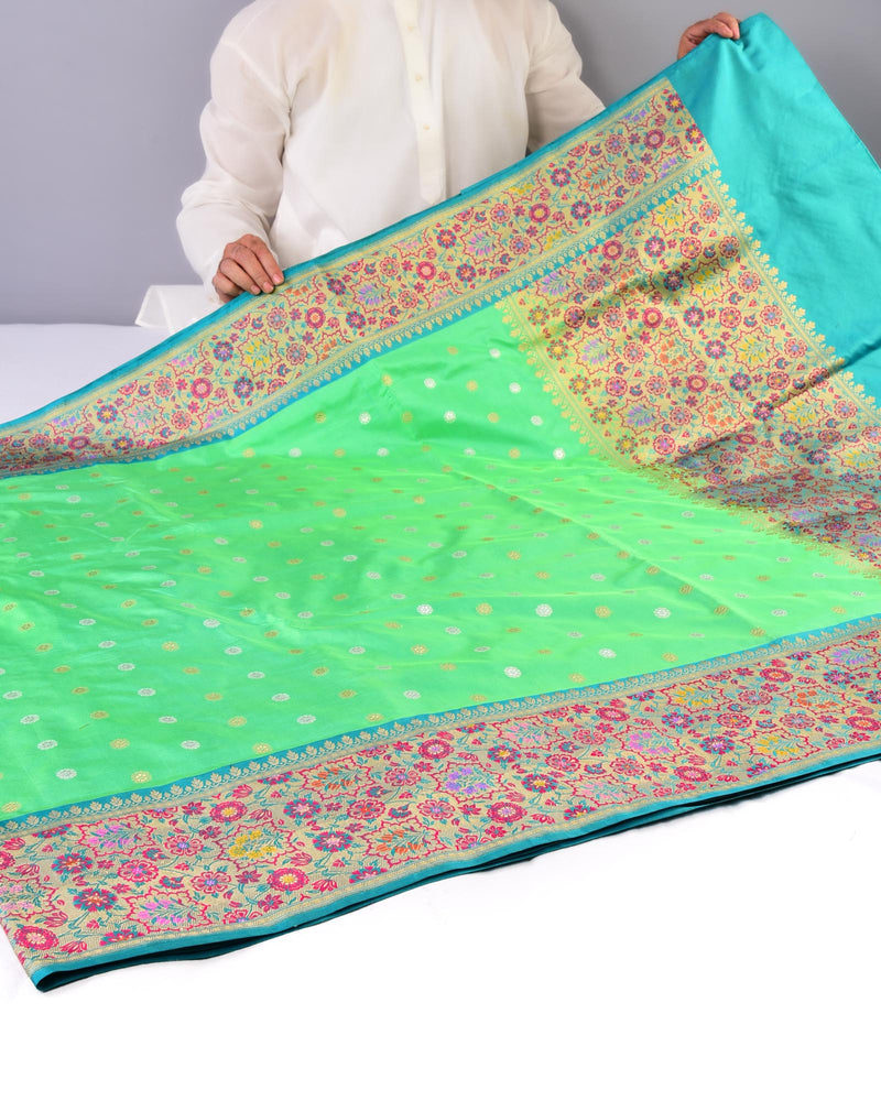 Green Banarasi Sona Rupa Polka Buti Cutwork Brocade Handwoven Katan Silk Saree with Tehra Meena Anchal Border
