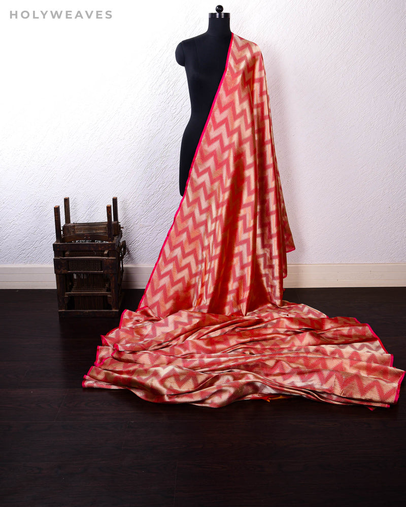Red Banarasi Double Zari Illusion Chevron Brocade Handwoven Katan Silk Fabric - HolyWeaves