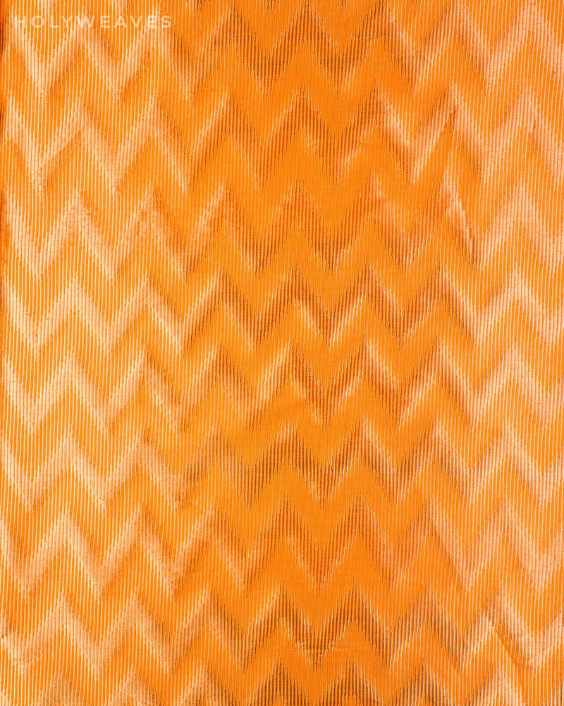 Orange Banarasi Double Zari Illusion Chevron Brocade Handwoven Katan Silk Fabric - HolyWeaves