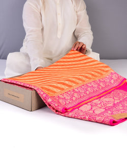 Orange Banarasi Diagonal Zari Stripes Cutwork Brocade Woven Khaddi Georgette Saree