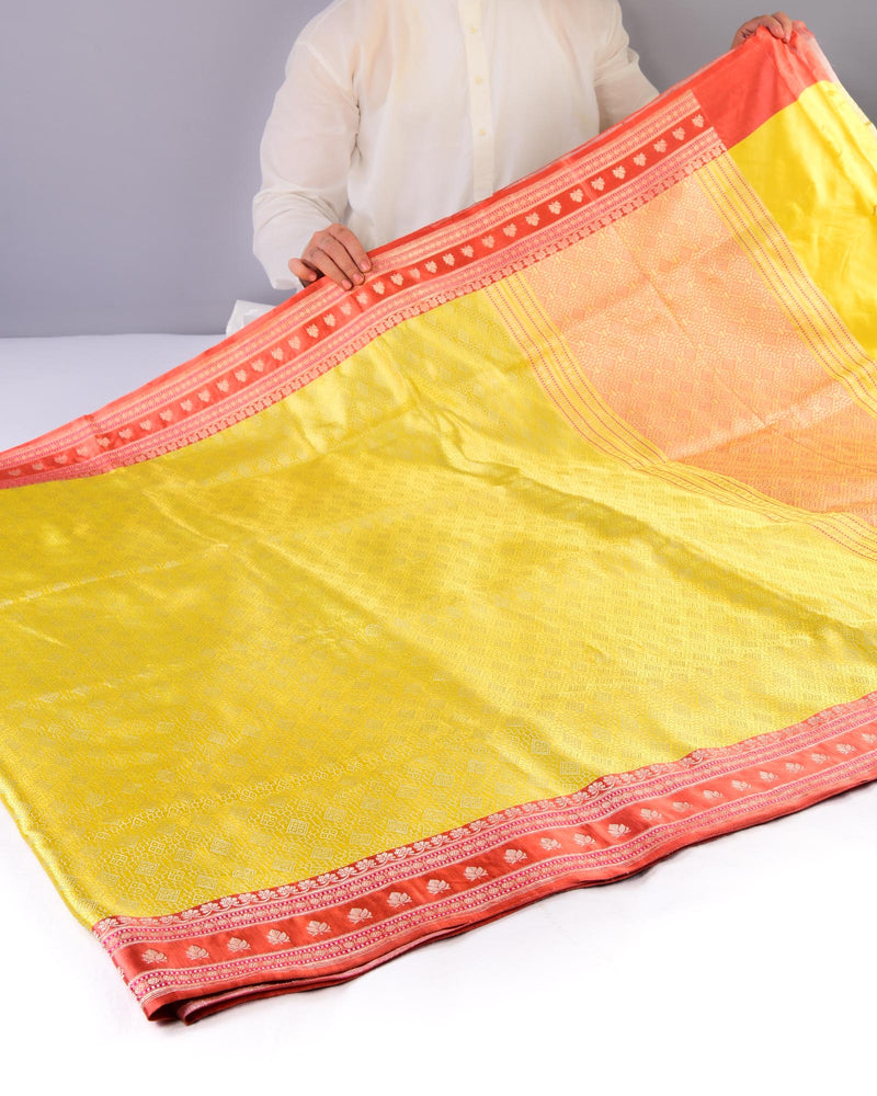 Lemon Yellow Banarasi Satin Tanchoi Brocade Handwoven Katan Silk Saree - HolyWeaves