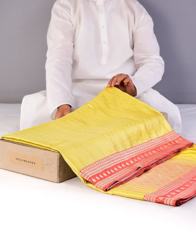 Lemon Yellow Banarasi Satin Tanchoi Brocade Handwoven Katan Silk Saree-HolyWeaves