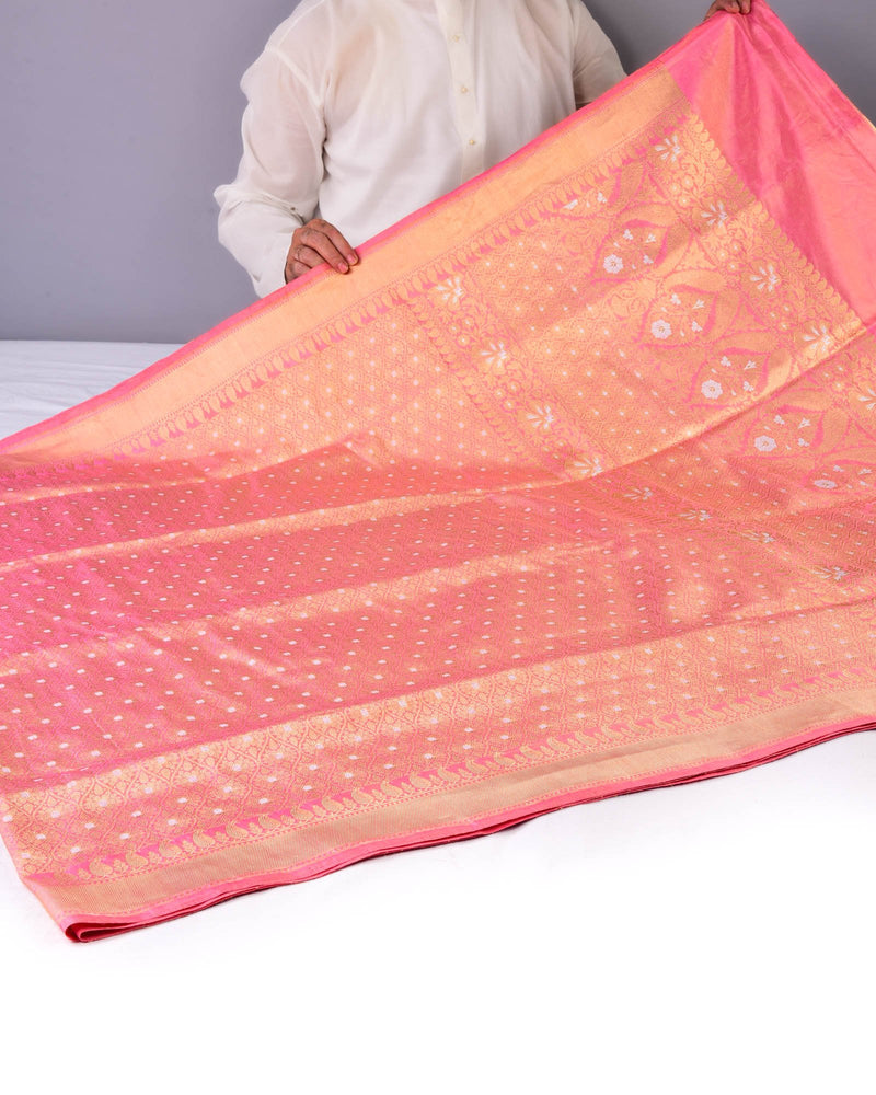Pink Banarasi Alfi Cutwork Brocade Handwoven Katan Tissue Saree with Brocade Blouse Piece - HolyWeaves