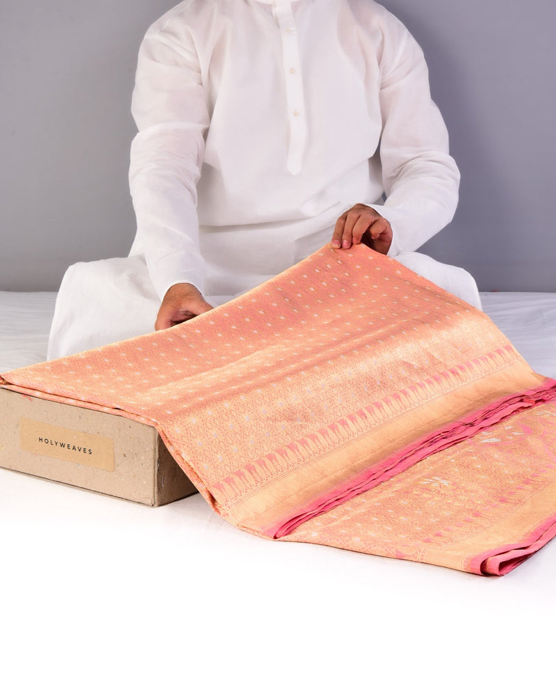 Pink Banarasi Alfi Cutwork Brocade Handwoven Katan Tissue Saree with Brocade Blouse Piece-HolyWeaves