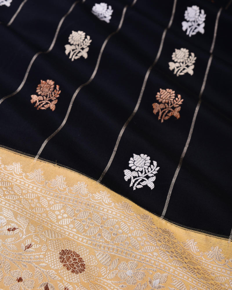 Black Banarasi Kadhuan Brocade Handwoven Katan Silk Saree with Kadiyal Border Pallu - HolyWeaves