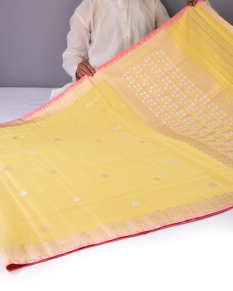 Yellow Banarasi Kadhuan Brocade Handwoven Cotton Silk Saree