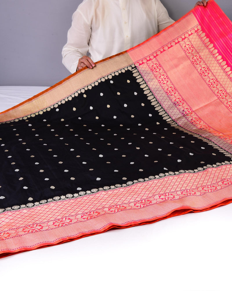 Black Banarasi Kadhuan Brocade Handwoven Katan Silk Saree with Pink Kadiyal Border Pallu - HolyWeaves