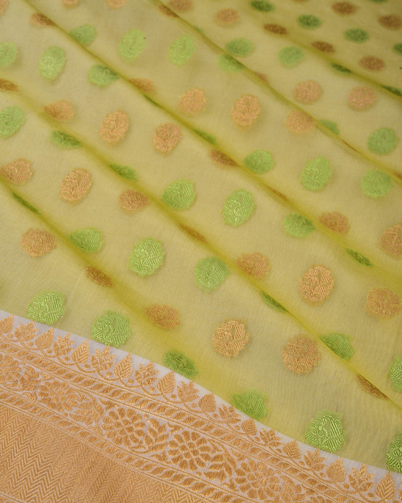 Green Banarasi Buti Cutwork Brocade Handwoven Kora Silk Saree - HolyWeaves