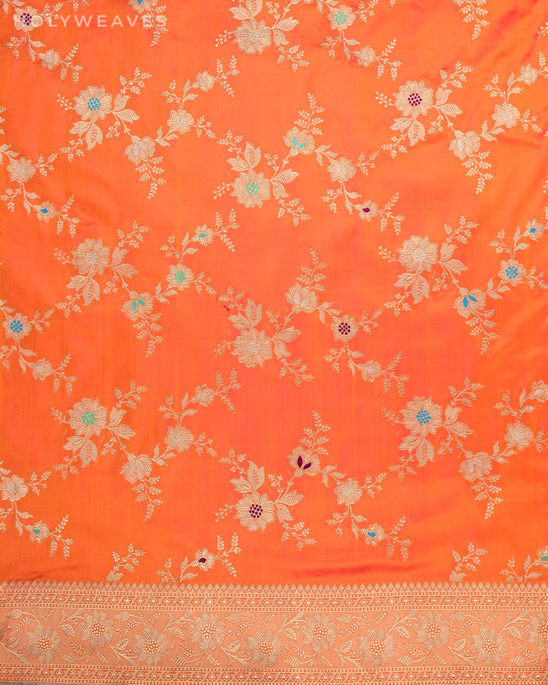 Shot Orange Banarasi Meena Jaal All-over Kadhuan Brocade Handwoven Katan Silk Saree - HolyWeaves