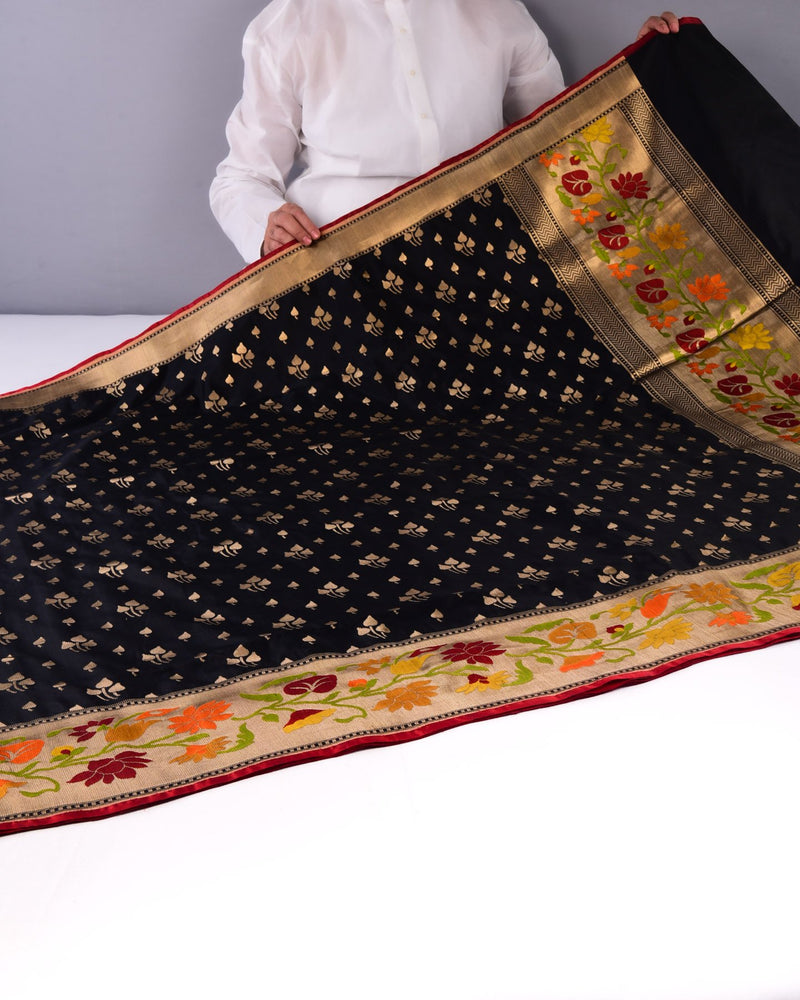 Black Banarasi Paithani Cutwork Brocade Handwoven Katan Silk Saree