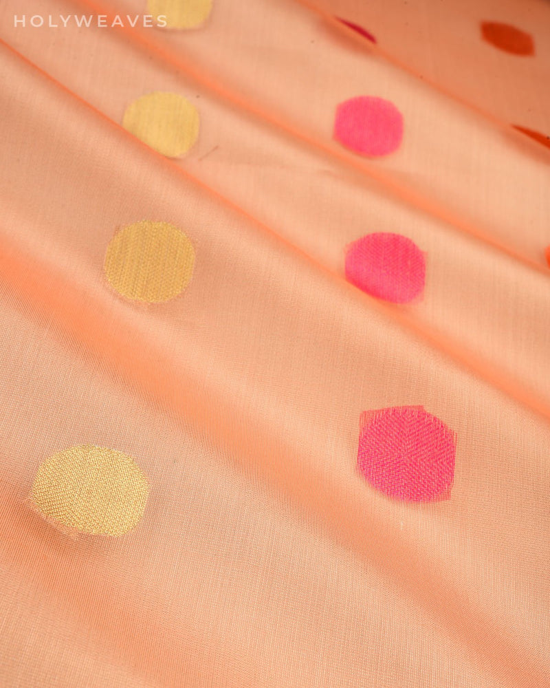 Metallic Peach Banarasi Polka Buti Cutwork Brocade Woven Art Cotton Tissue Saree
