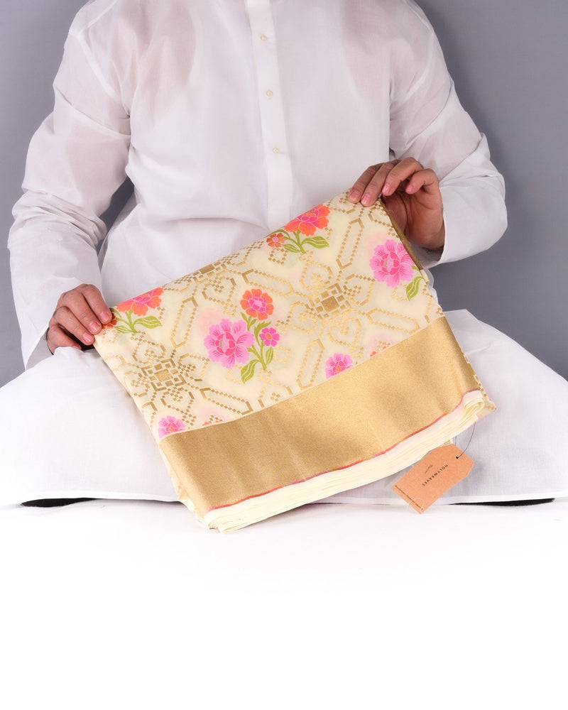 Cream Banarasi Chauhara Floral Jaal Cutwork Brocade Woven Art Silk Saree with Brocade Blouse Piece