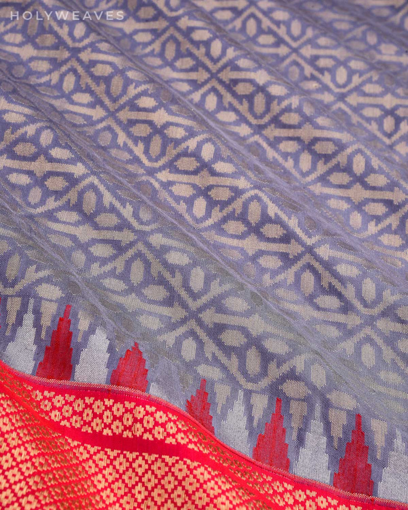 Gray Banarasi Cutwork Brocade Handwoven Katan Silk Saree with Kadiyal Pink Border Pallu