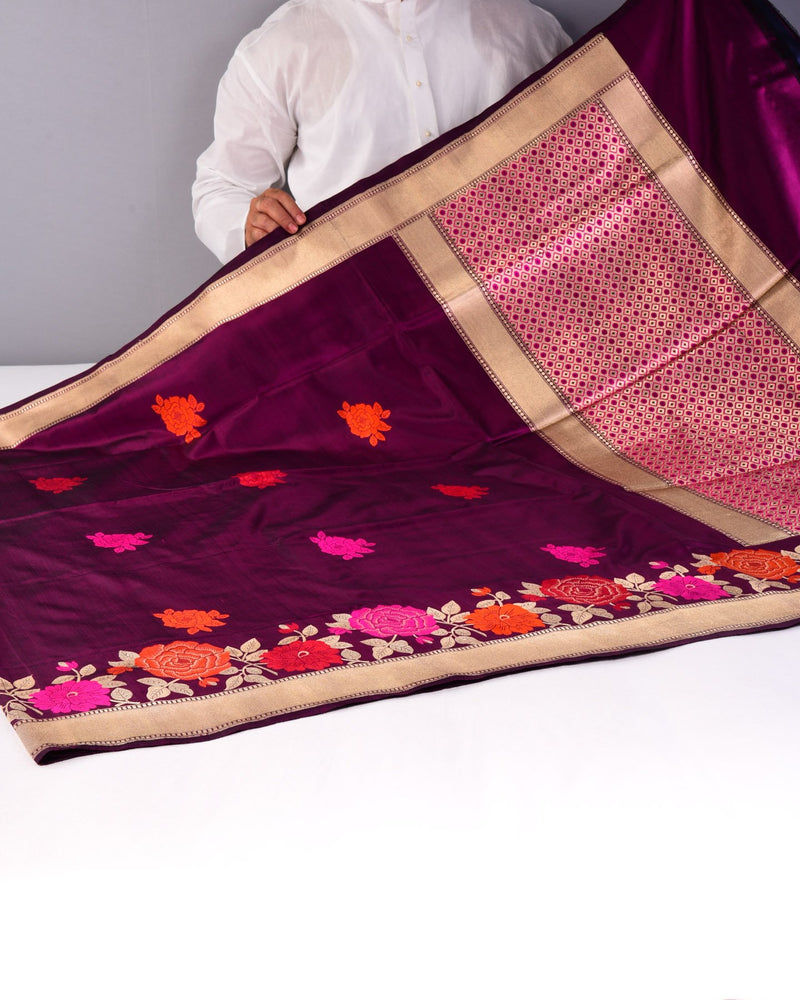 Purple Banarasi Resham Gulab Buti Kadhuan Brocade Handwoven Katan Silk Saree with Meenekari Border