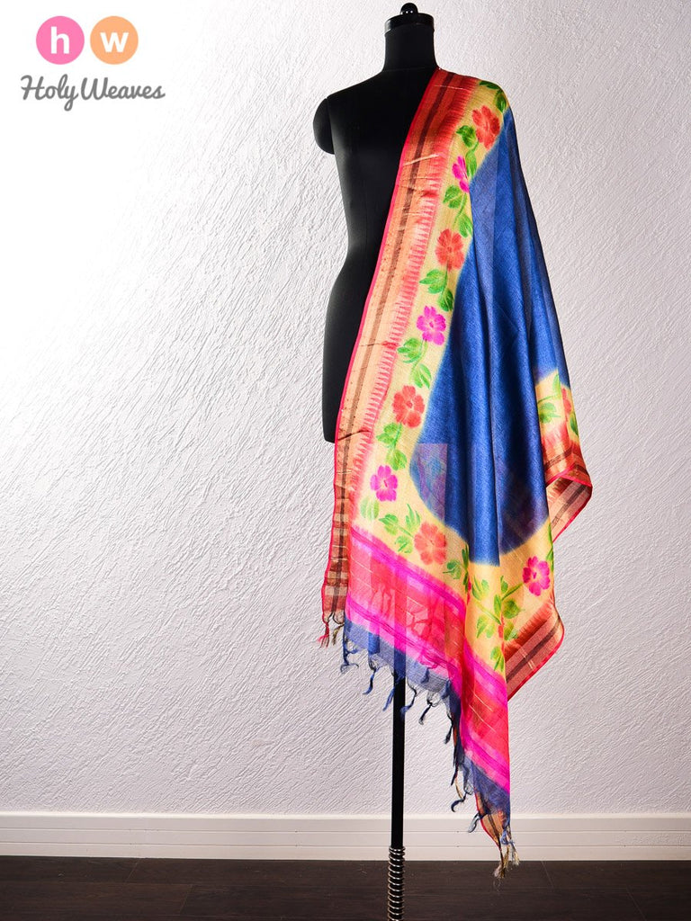 Navy Blue Tasar Silk Hand-painted Dupatta