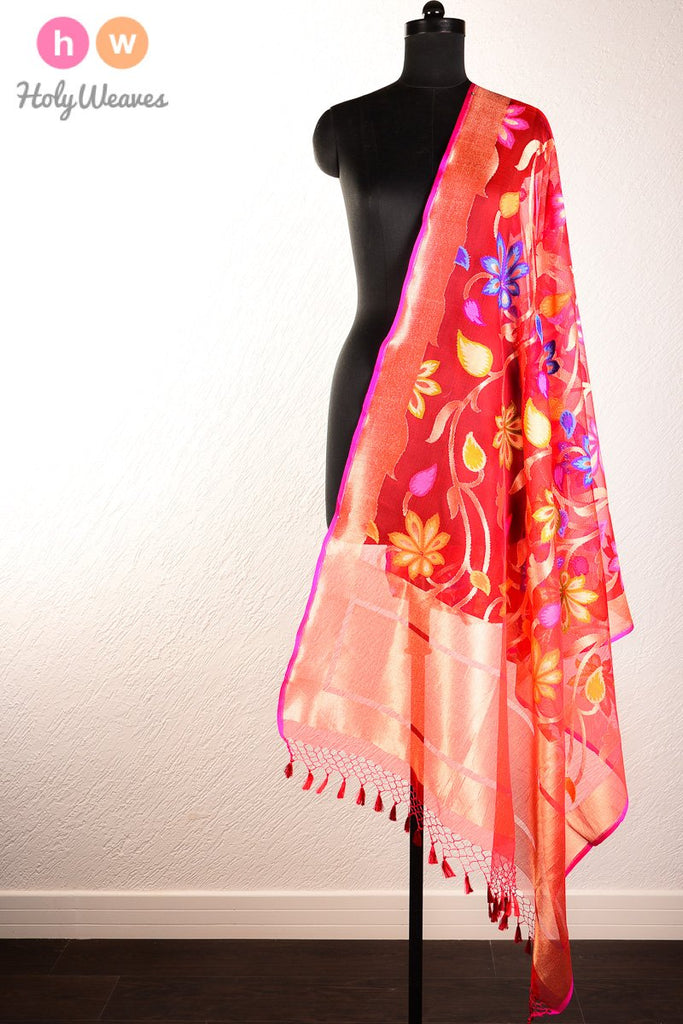 Red Banarasi Cutwork Brocade Handwoven Handloom Net Dupatta- HolyWeaves
