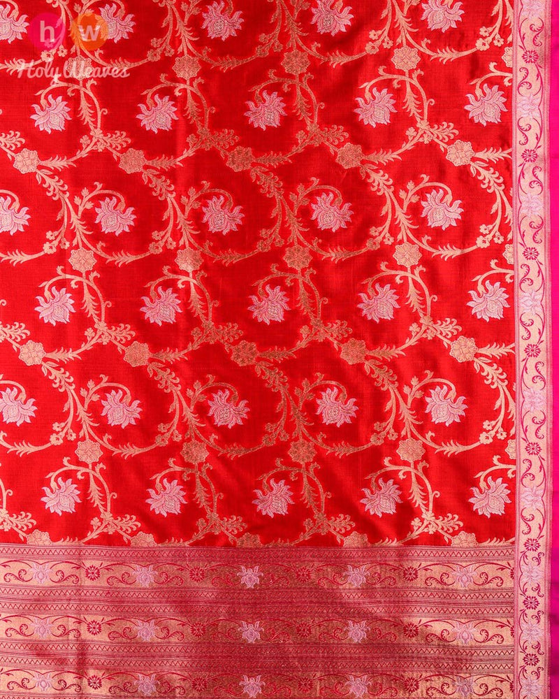 Red Banarasi Cutwork Brocade Handwoven Katan (कतान) Silk Dupatta - HolyWeaves