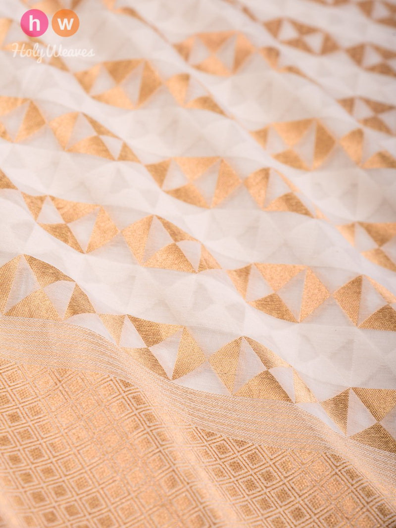 Cream Banarasi Cutwork Brocade Handwoven Cotton Silk Dupatta- HolyWeaves