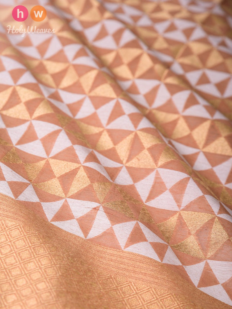 Brown Banarasi Cutwork Brocade Handwoven Cotton Silk Dupatta - HolyWeaves