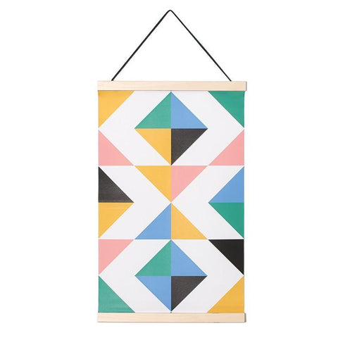 suspended canvas, hanged banner, hanged print, geometric print, wall art, wall decor