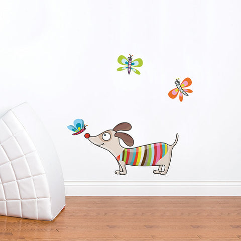 PUPPY AND BUTTERFLIES