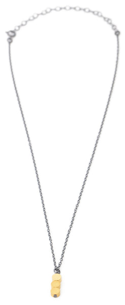Shiny & matte 16k gold contrast necklace in oxidized silver