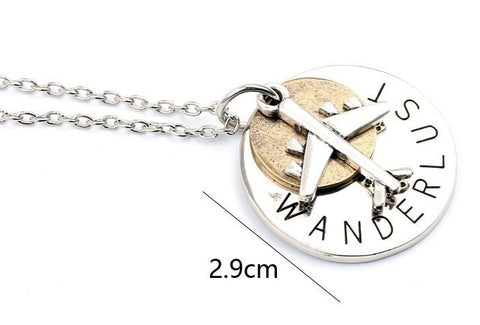 Women's Round Wanderlust Lettering Aircraft Airplane Necklace