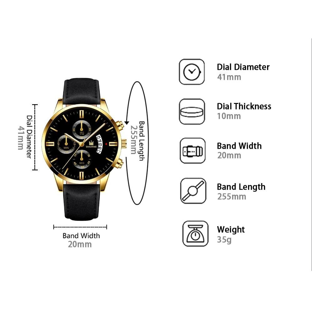 Men'S Stainless Steel Case Leather Strap Watch
