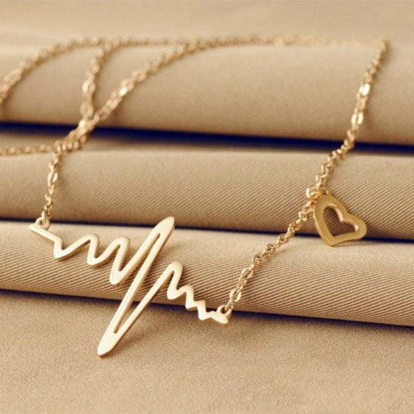 Wave Heartbeat Pendant Necklace-Silver-Keyomi-Sook